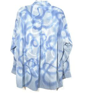 DKNY X CUSTOM Graffiti Blue XL Button Down Shirt